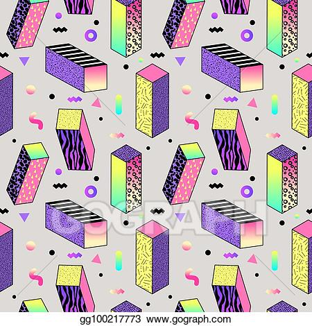 90s shape clipart clip art library Vector Art - Abstract memphis style seamless pattern with geometric ... clip art library