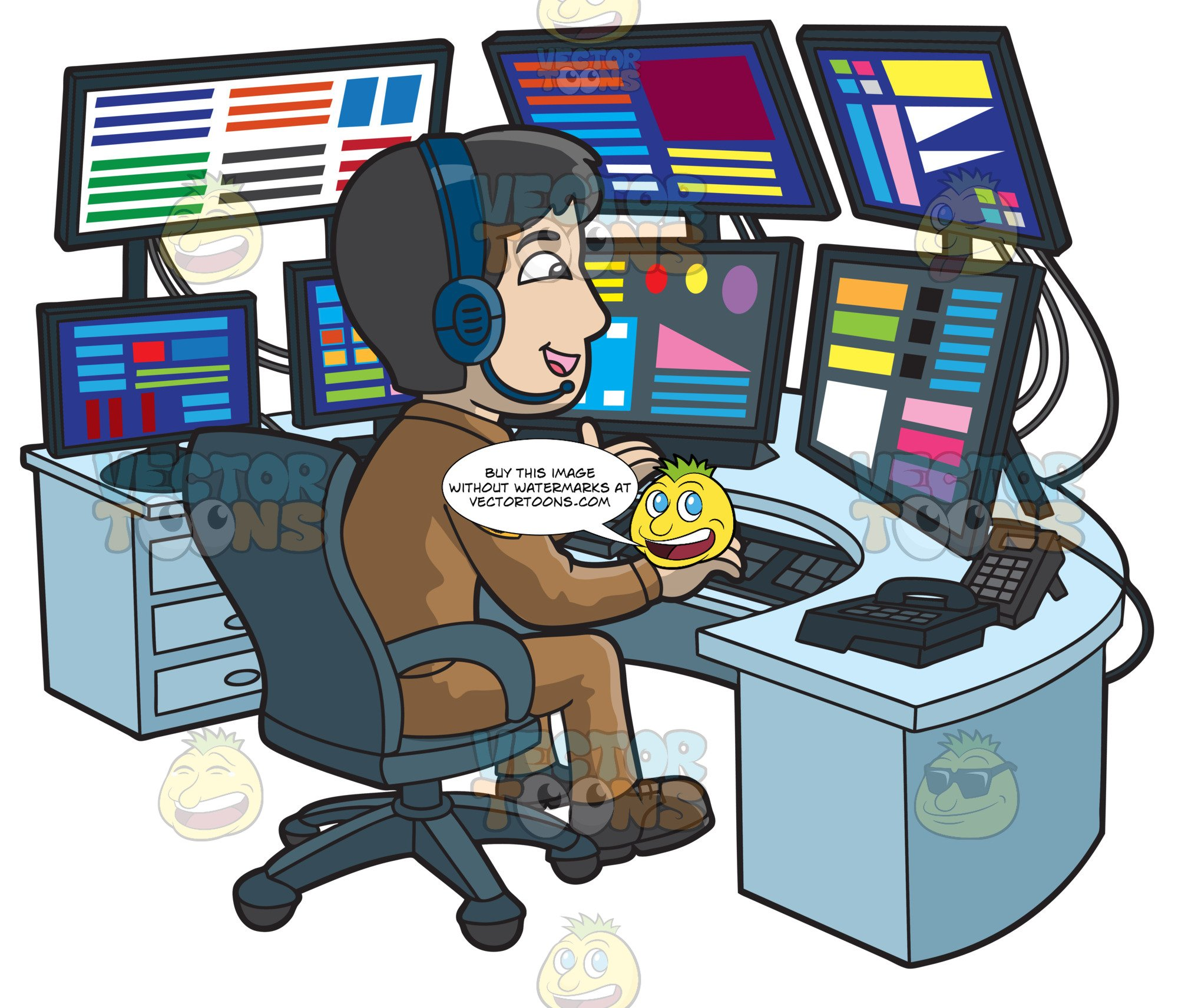 A Friendly Male 911 Dispatcher clipart royalty free