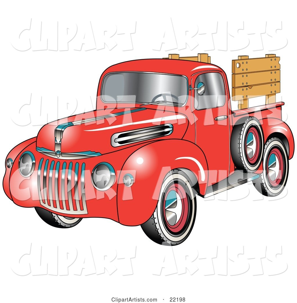98 ford pickup truck clipart picture black and white Red 1945 Ford Pickup Truck With A Spacfe Tire On The Side And ... picture black and white