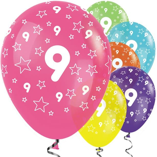 9th birthday balloons clipart banner 9th Birthday Tropical Mix Stars Balloons - 12\