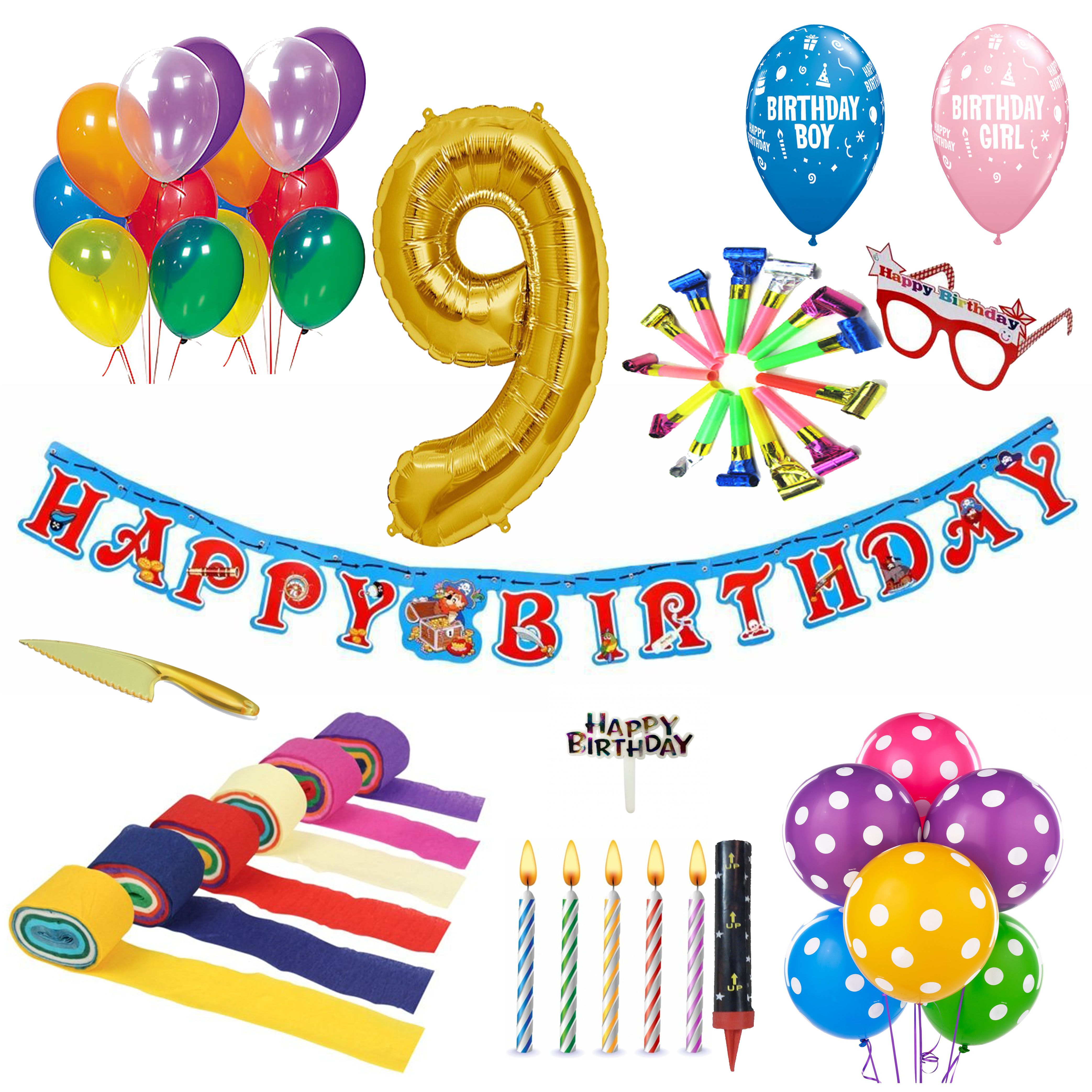 9th birthday balloons clipart image download 9th Birthday Decoration Kit image download