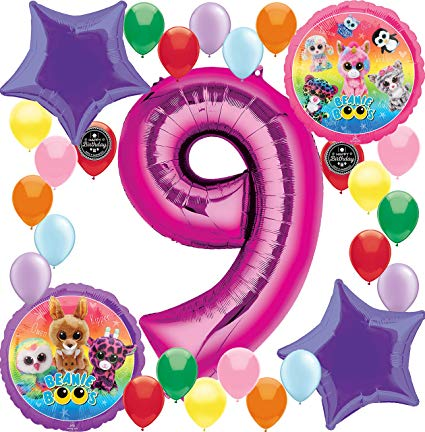 9th birthday balloons clipart graphic library download Combined Brands Beanie Boo\'s Girls Birthday Party Supplies Balloon  Decoration Bundle For (9th Birthday) graphic library download