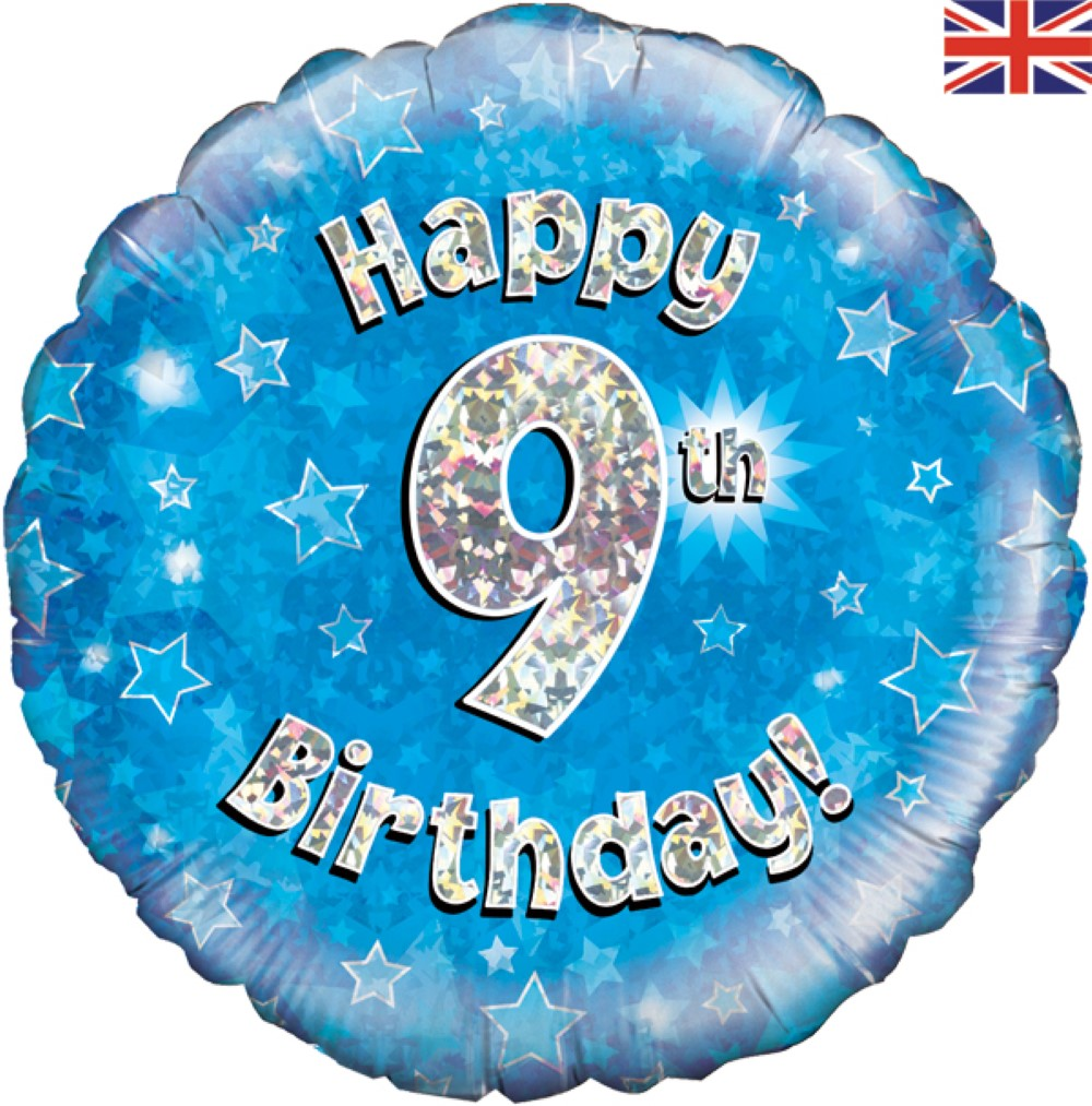 Happy 9th Birthday - Blue Holographic - Foil Balloon | Balloon Shop banner transparent stock