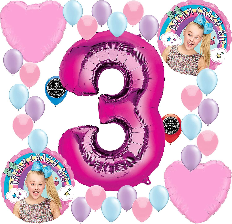 JOJO SIWA Party Supplies Birthday Balloon Decoration Bundle For (3rd  Birthday) clip library stock