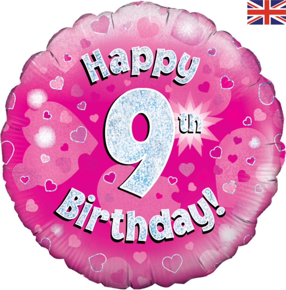 Happy 9th Birthday - Pink Holographic - Foil Balloon | Balloon Shop picture transparent download