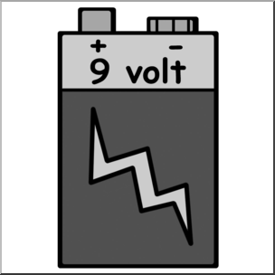 9v battery clipart picture library library Clip Art: Electricity: 9 Volt Battery Grayscale I abcteach.com ... picture library library