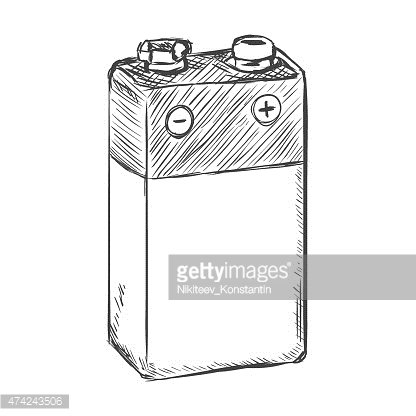9v battery clipart jpg black and white stock Vector Sketch 9v Krona Battery premium clipart - ClipartLogo.com jpg black and white stock