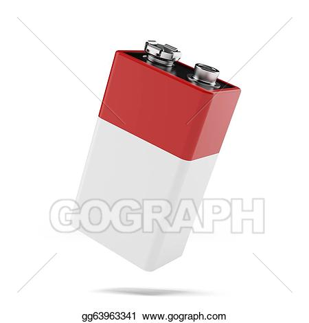 9v battery clipart jpg library Drawing - Red 9v battery. Clipart Drawing gg63963341 - GoGraph jpg library