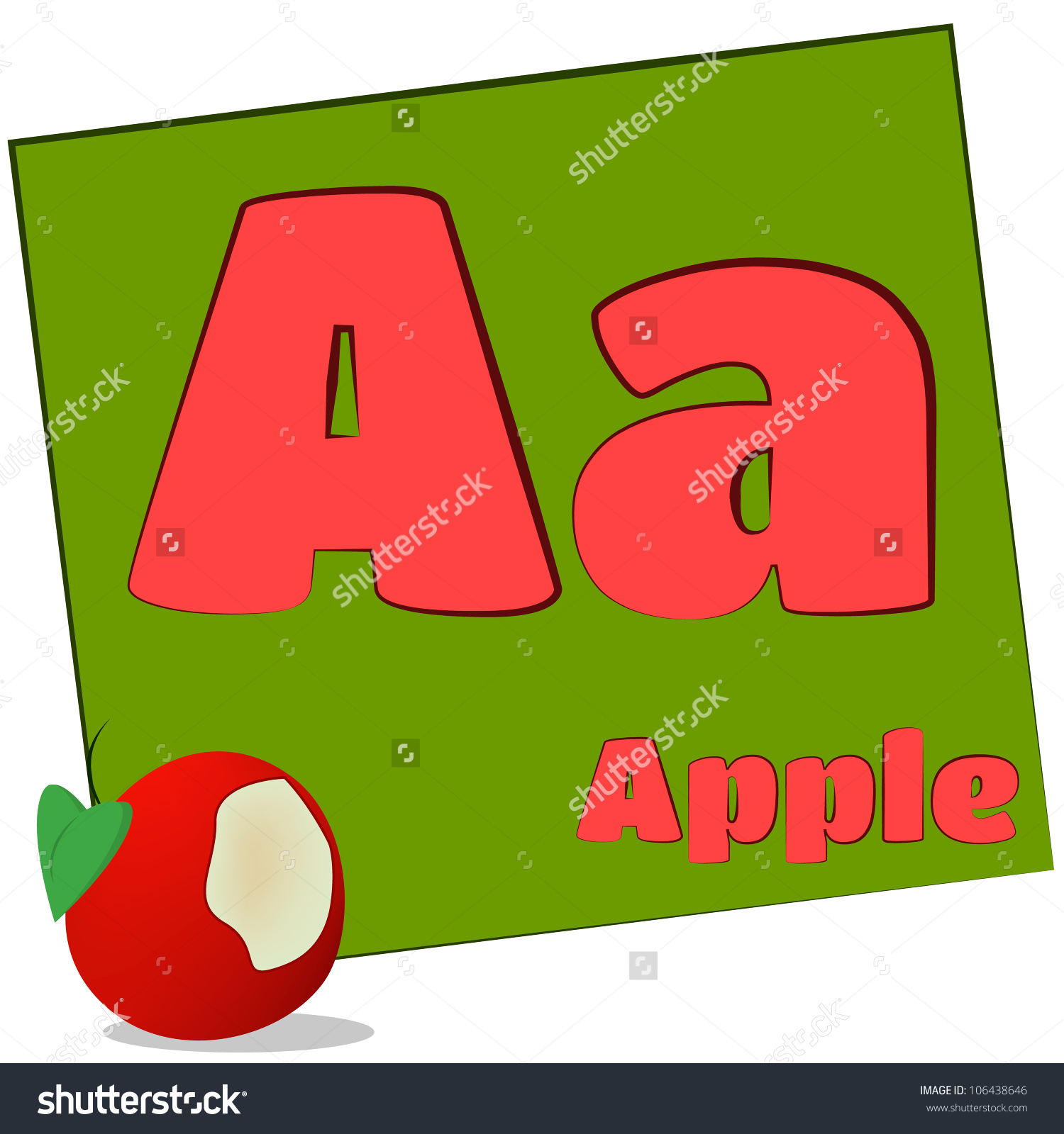 A alphabet letter apple clipart clipart transparent stock Aapplecolorful Alphabet Letters Words Starting Each Stock ... clipart transparent stock