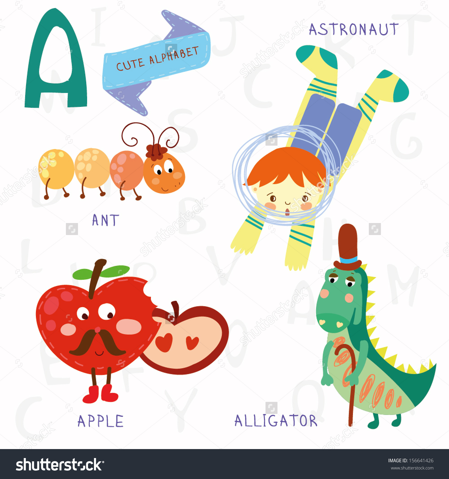 A alphabet letter apple clipart vector library library Very Cute Alphabet Letter Ant Astronaut Stock Vector 156641426 ... vector library library