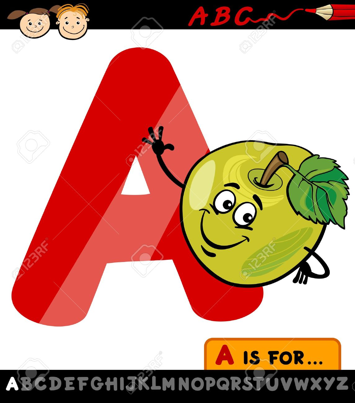 A alphabet letter apple clipart clipart Cartoon Illustration Of Capital Letter A From Alphabet With Apple ... clipart