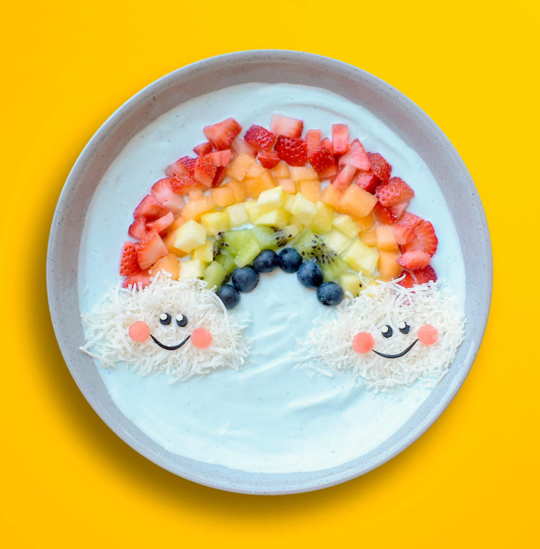 A ballerina eating an acai bowl clipart graphic Rainbow - Smoothie Bowl - Beko Eat Like A Pro graphic