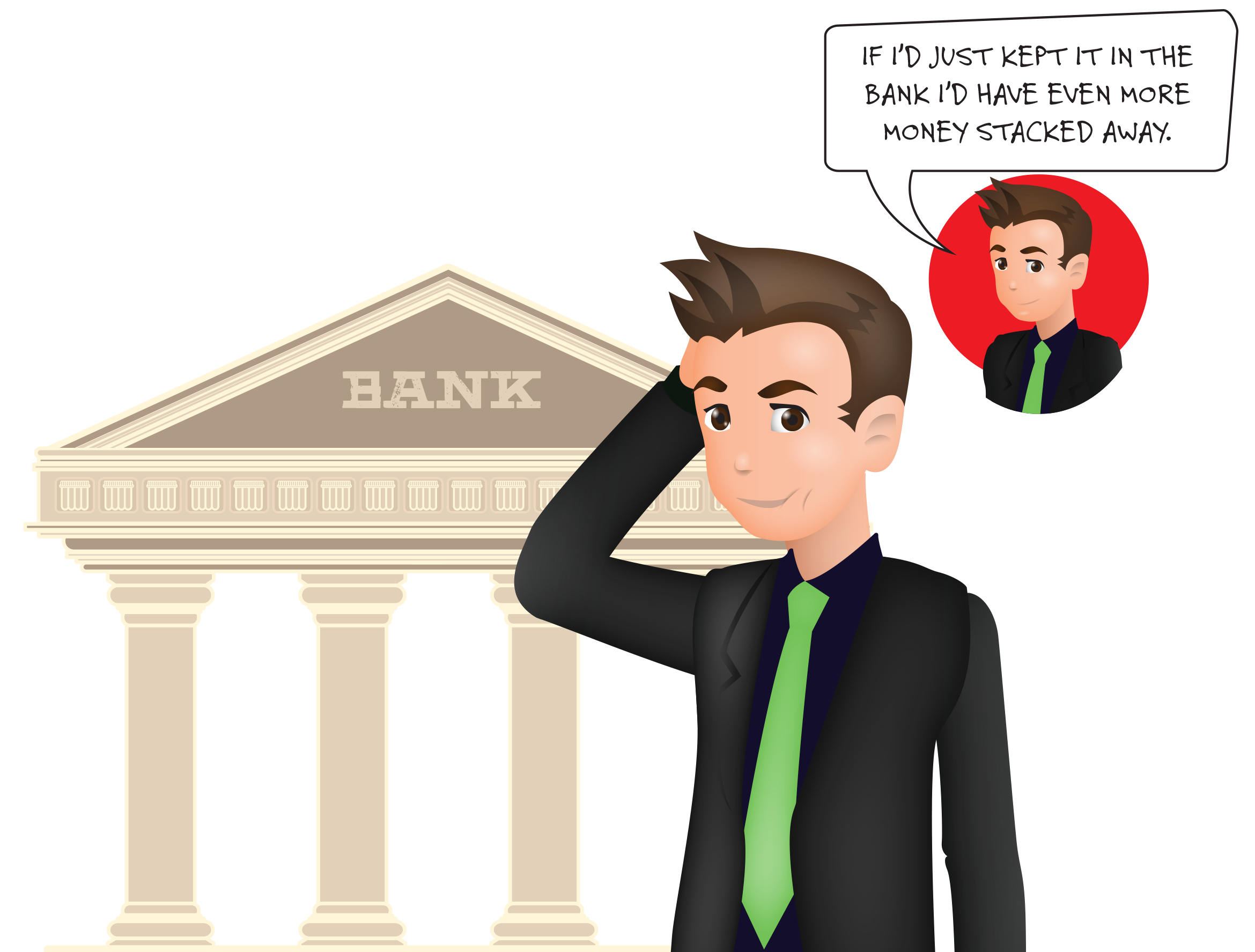 A banker giving an unemployed person money clipart picture library Betting on Yourself - Forever Jobless picture library