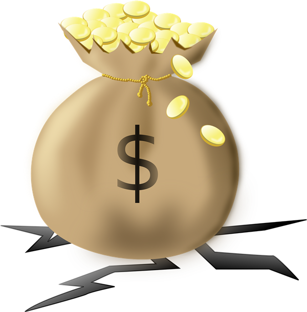 This clip art of a heavy money bag filled with gold coins is in the ... freeuse stock