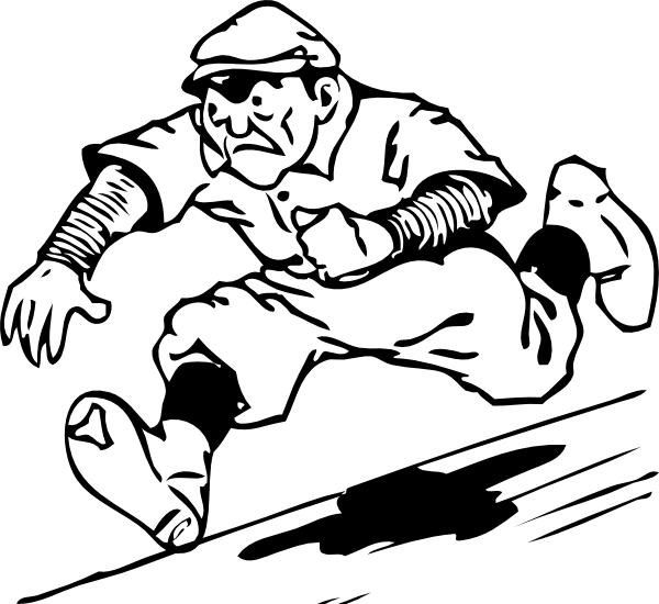 Free running for. Baseball player sliding into home plate clipart