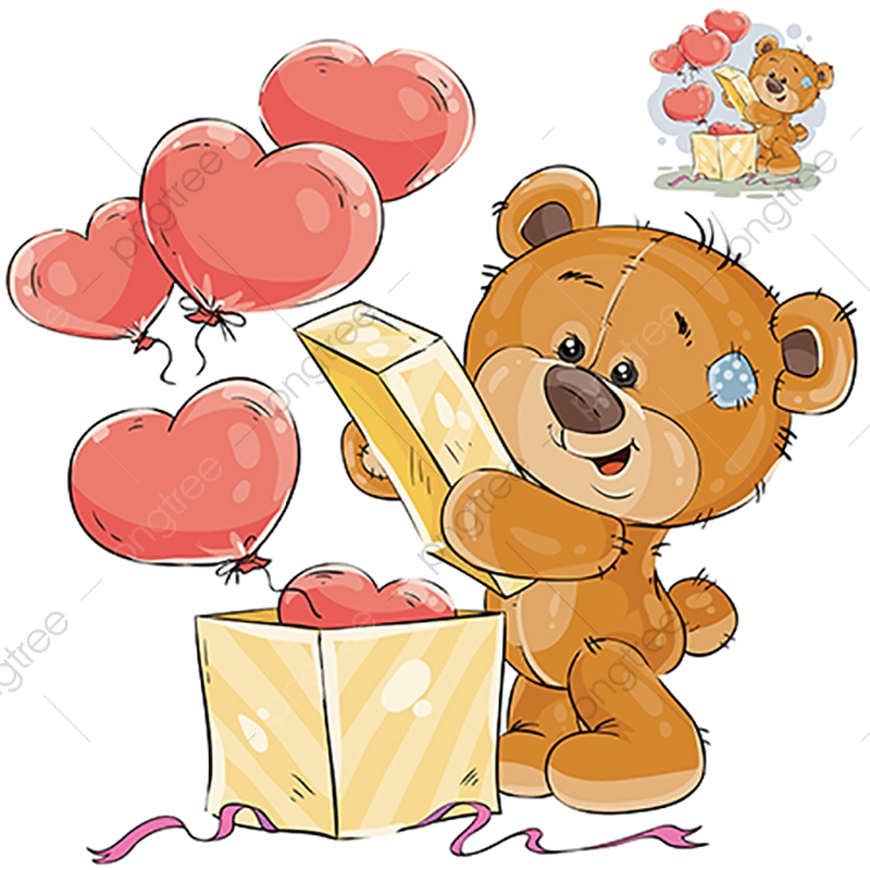 A bear in a box png clipart picture black and white Vector Illustration Of A Teddy Bear Opens A Box With Balloons In ... picture black and white