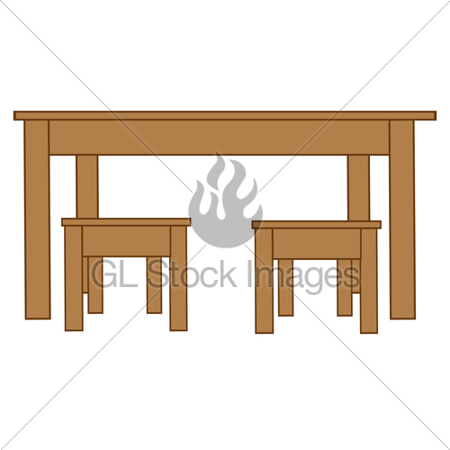 A big table clipart vector freeuse download Big Table And Two Chairs · GL Stock Images vector freeuse download