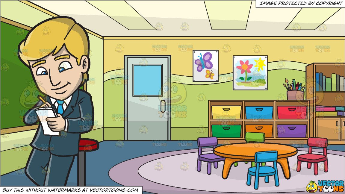 A black kindergarten writing clipart clip freeuse stock A Businessman Writing A Note and Inside A Kindergarten Classroom Background clip freeuse stock