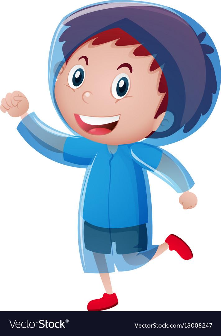 A bluerain coat clipart jpg library Happy boy wearing blue raincoat jpg library