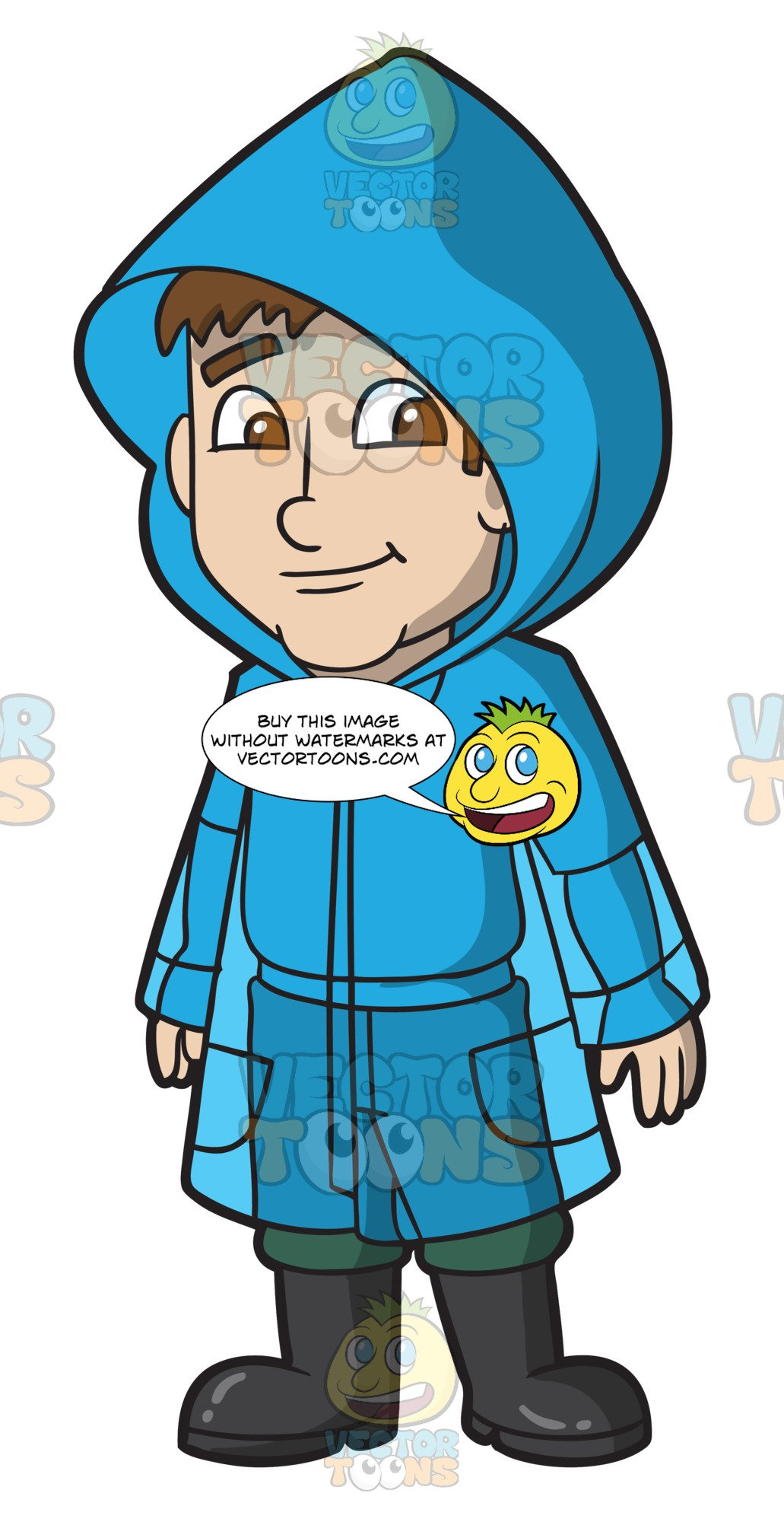 A bluerain coat clipart banner download A Man Wearing A Blue Raincoat banner download