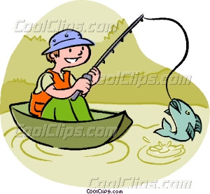 Catching fish vector clip. A boy cathcing a clipart