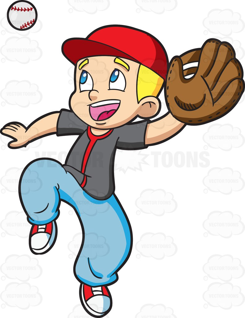 A Boy Catching A Baseball Cartoon Clipart royalty free download