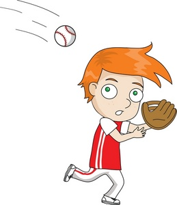 Catch kid baseball player. A boy cathcing a clipart