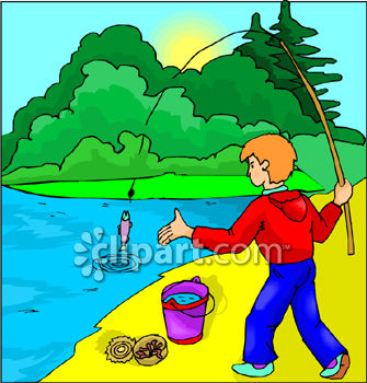 A boy cathcing a clipart. Catching fish using worms