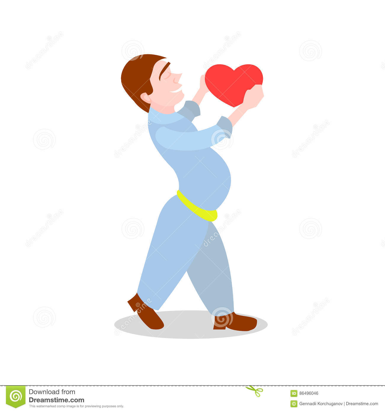 A boy giving a ball to a boy clipart. Heart in the style