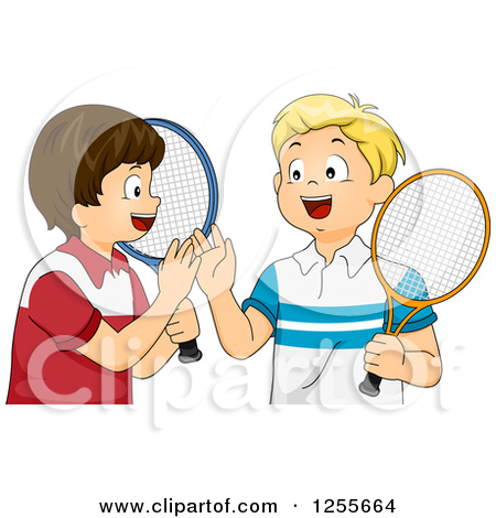 Of happy blond hitting. A boy giving a ball to a boy clipart