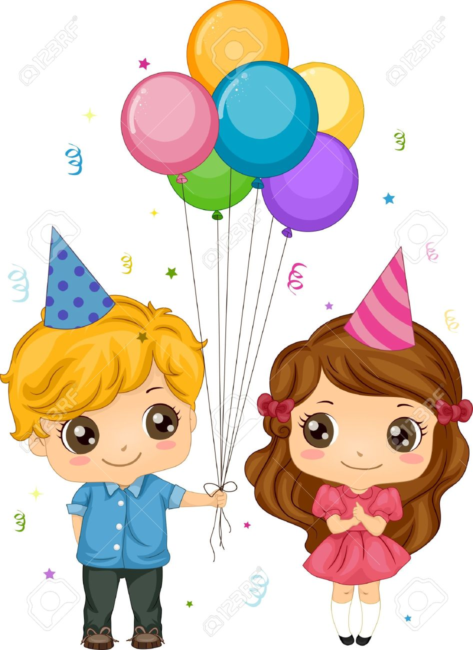 Clipartfest of balloons . A boy giving a ball to a boy clipart