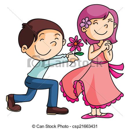 A boy giving a flower to a girl clipart vector free library A boy giving a flower to a girl clipart - ClipartFest vector free library