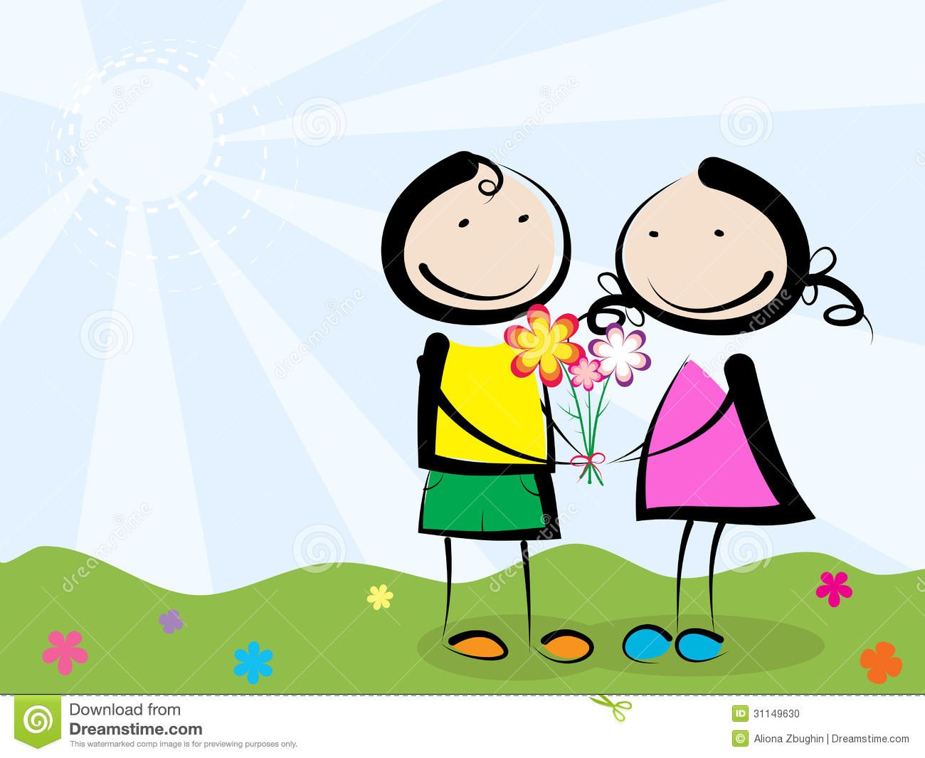 A boy giving a flower to a girl clipart banner library Giving Flowers Stock Photo - Image: 31149630 banner library
