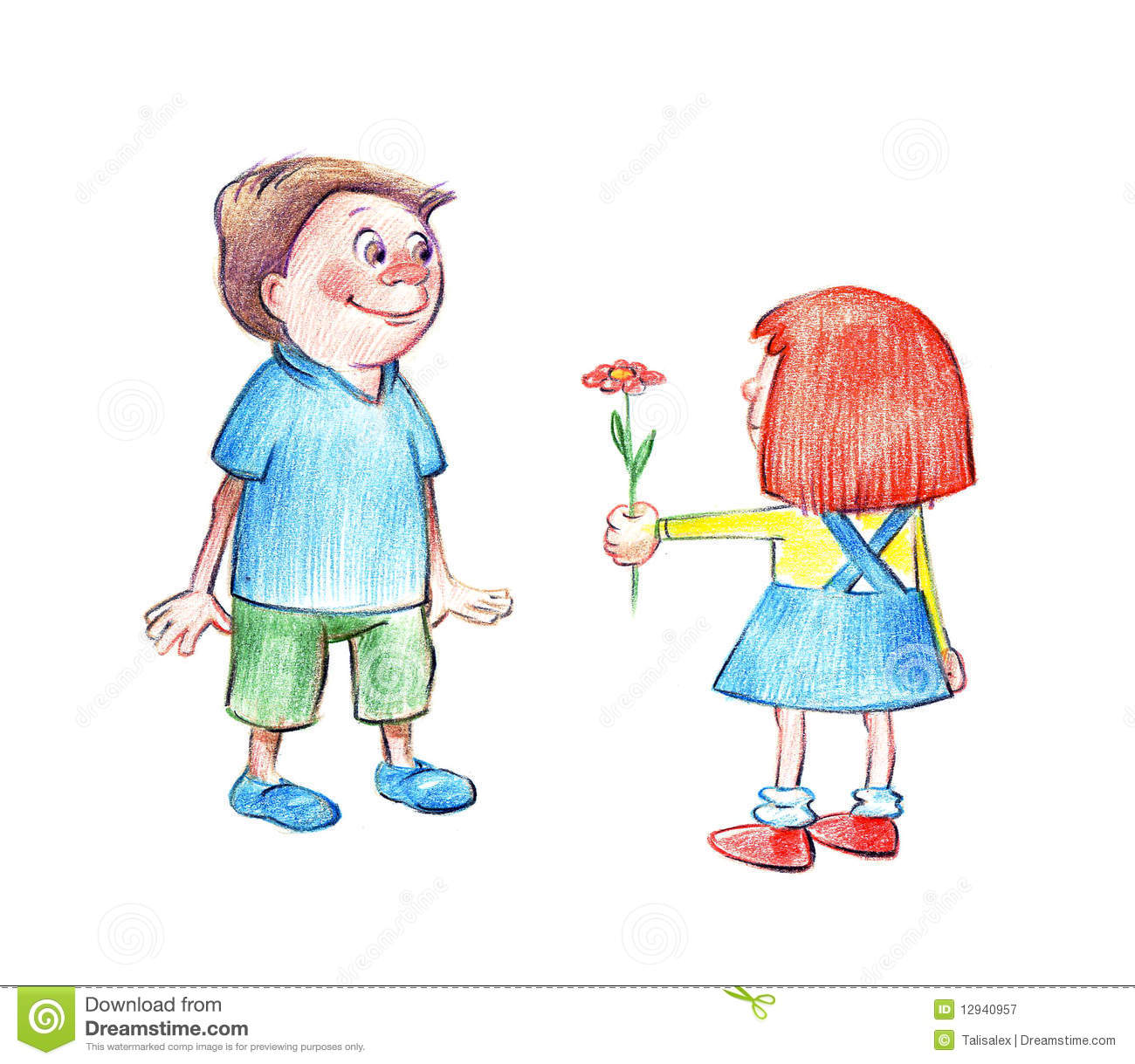 A boy giving a flower to a girl clipart png free stock Boy Giving Heart To Girl Stock Illustrations – 52 Boy Giving Heart ... png free stock