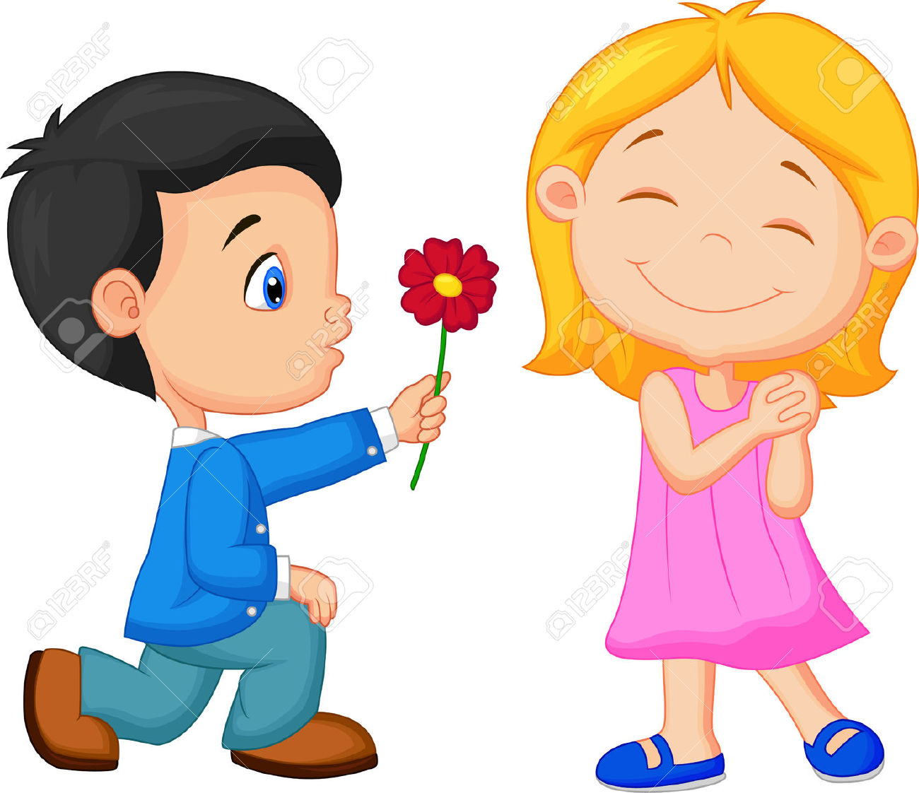 A boy giving a flower to a girl clipart image royalty free A boy giving a flower to a girl clipart - ClipartFest image royalty free