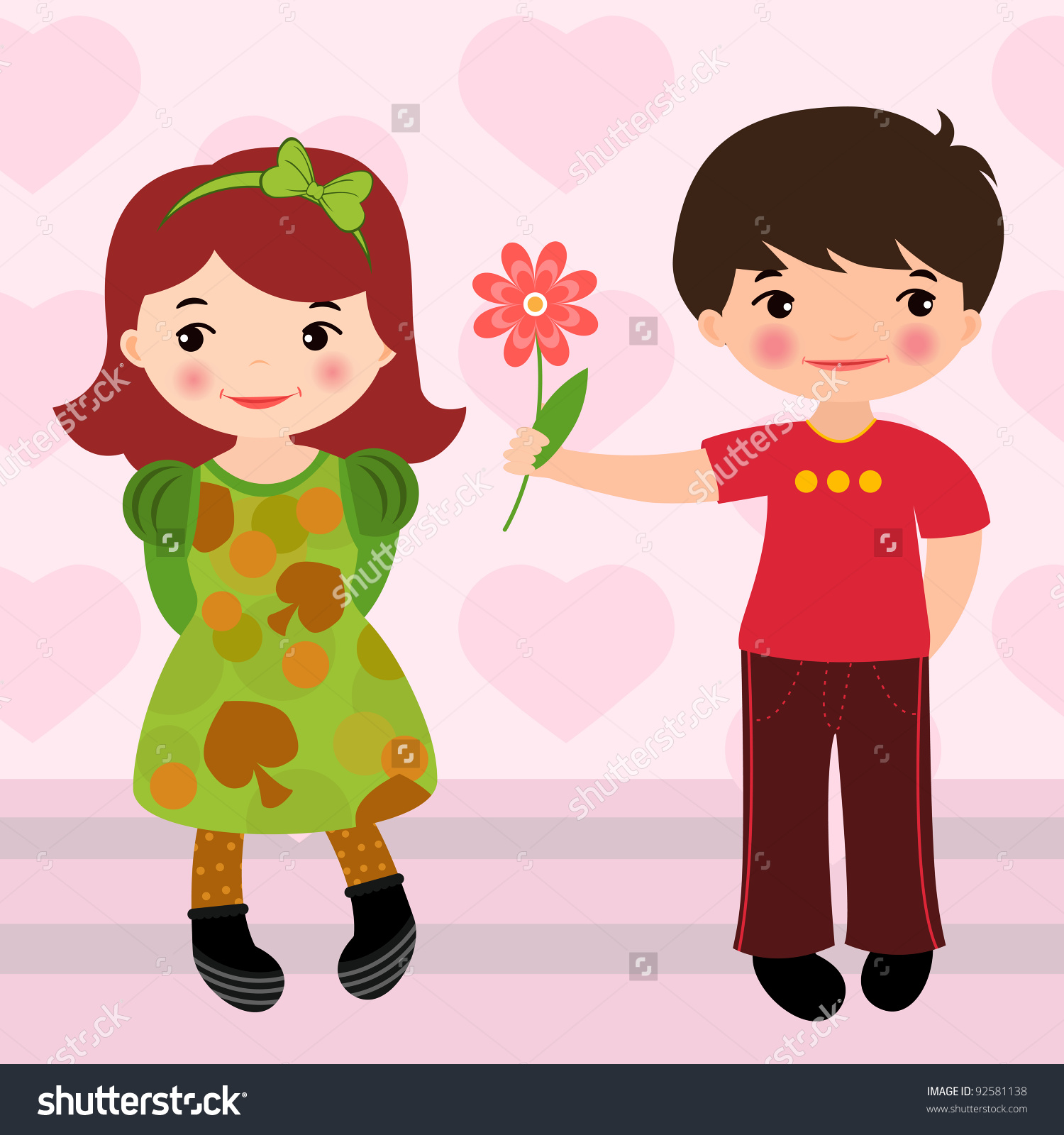 A boy giving a flower to a girl clipart svg Boy Giving Flower To A Girl For Valentines Day Stock Vector ... svg