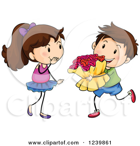 A boy giving a flower to a girl clipart banner free library Clipart of a Boy Giving a Bouquet of Flowers to a Girl - Royalty ... banner free library