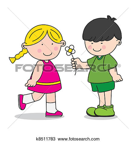 A boy giving a flower to a girl clipart banner transparent library Clipart of Boy Give a Flower to Girl k21663431 - Search Clip Art ... banner transparent library