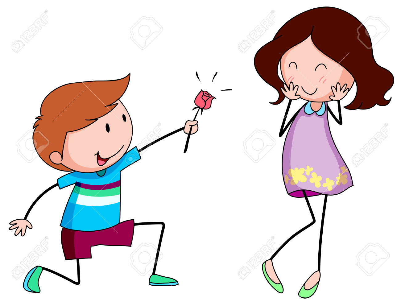 A boy giving a flower to a girl clipart banner library Romantic Boy Giving A Rose To His Girlfriend Royalty Free Cliparts ... banner library