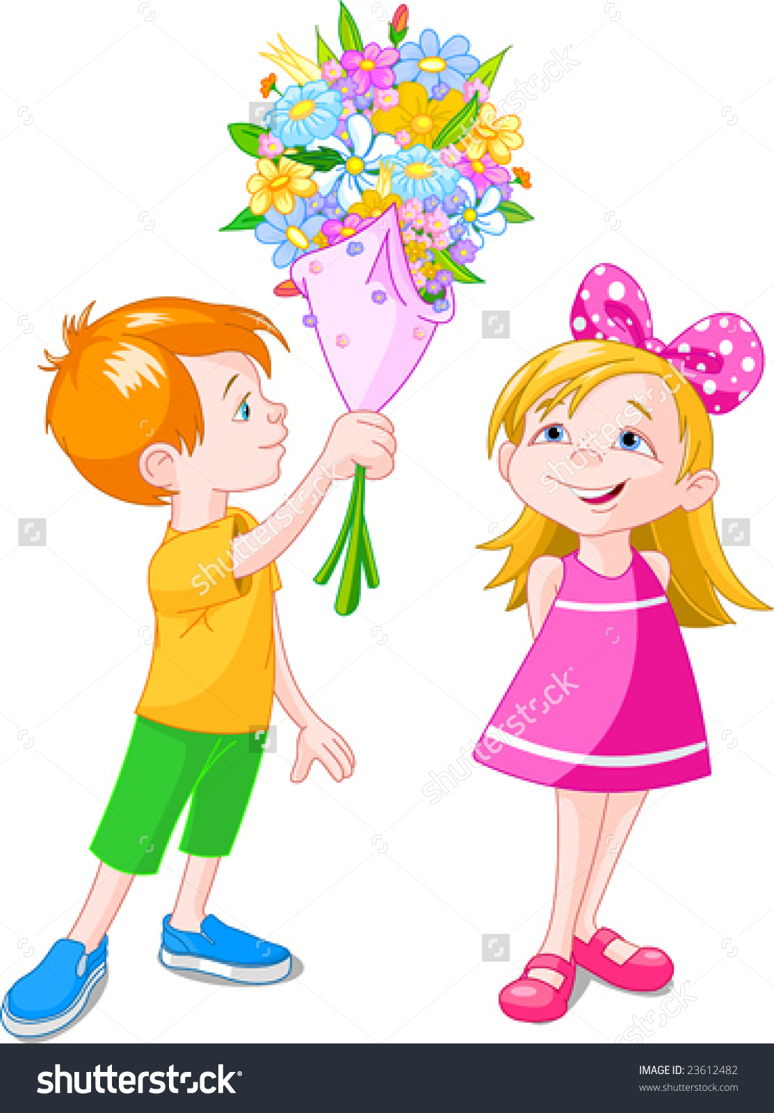 A boy giving a flower to a girl clipart image free download Boy Giving Bouquet Girl Vector Illustration Stock Vector 23612482 ... image free download