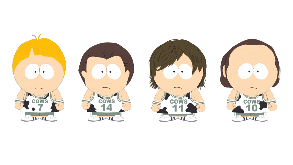 Cartoon boy with basketball clipart picture black and white download Cows Basketball Players - Official South Park Studios Wiki | South ... picture black and white download