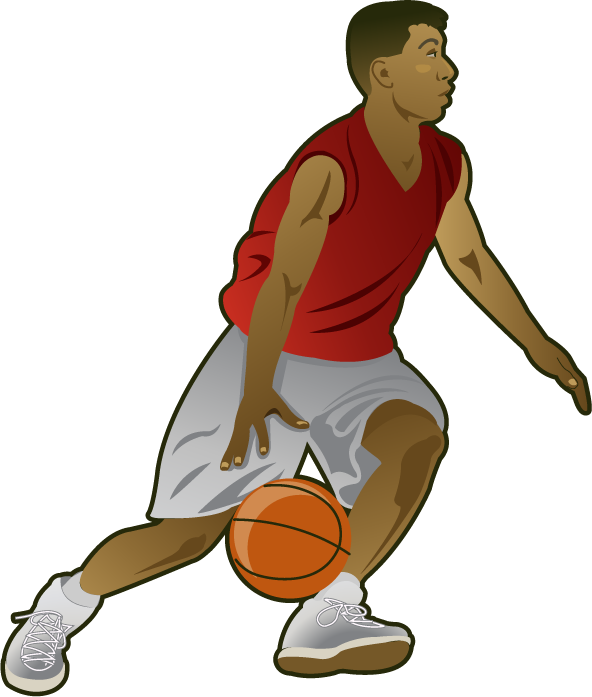 Man playing basketball clipart clipart black and white stock People Playing Basketball Clipart clipart black and white stock
