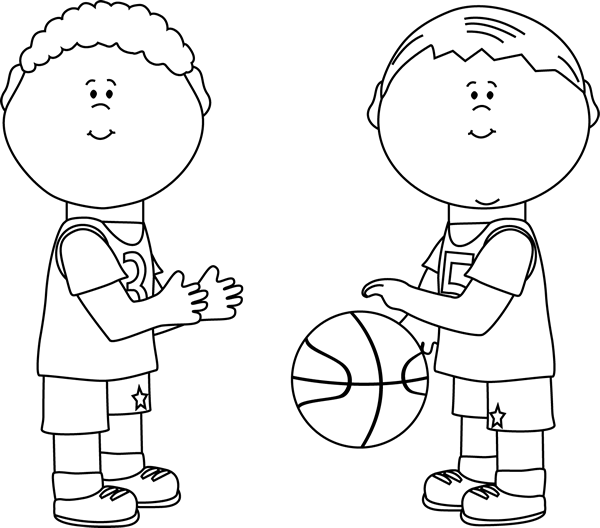 Cartoon boy with basketball clipart banner library stock Black and White Boys Playing Basketball | Autism Resources ... banner library stock