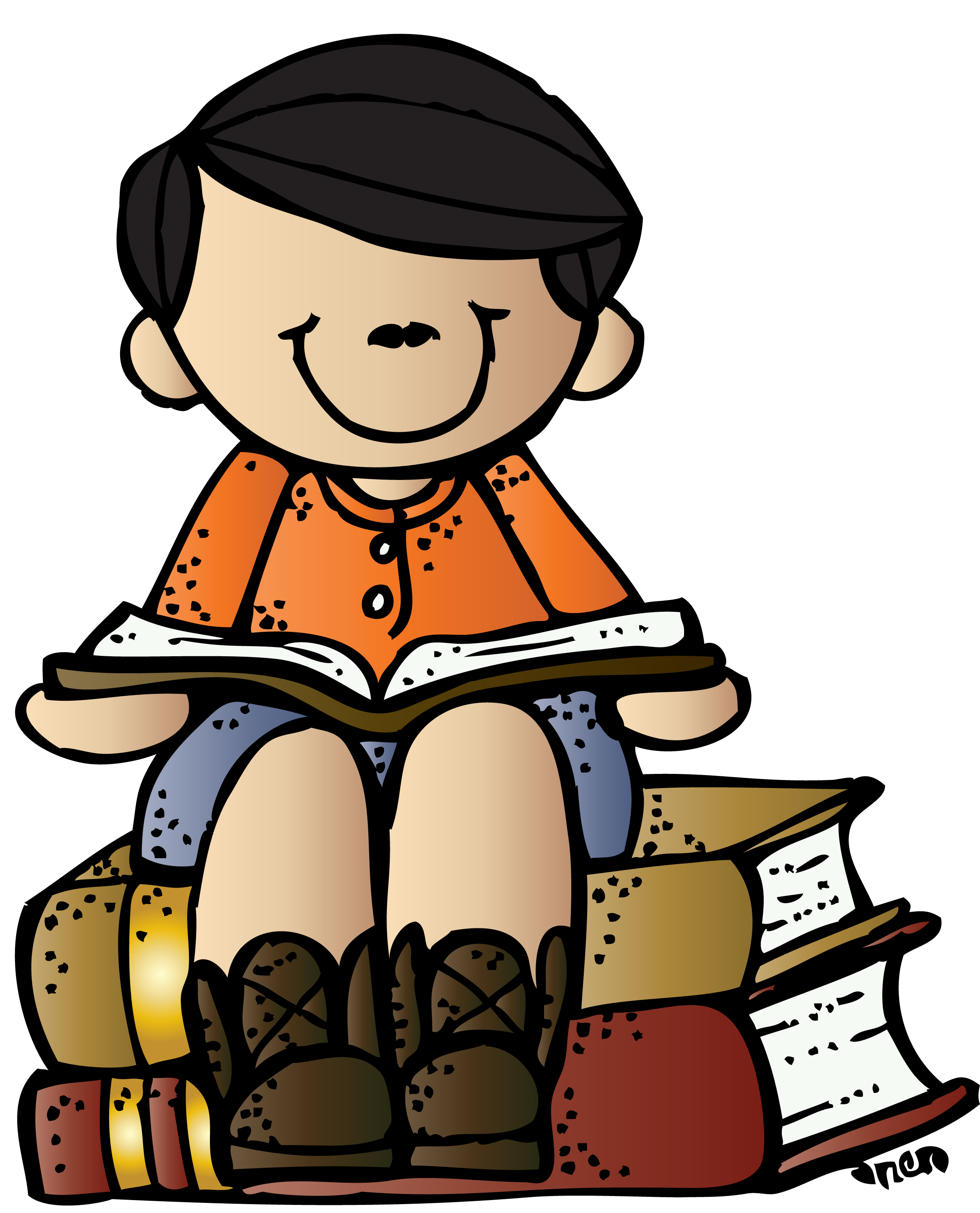 A boy reading a book clipart png royalty free stock Melonheadz Writing Boy on books c melonheadz | Clipart: Boy Theme ... png royalty free stock