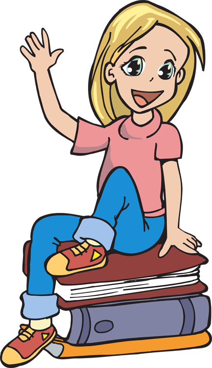 Girl getting ready for school clipart vector black and white library Girl Reading Clipart at GetDrawings.com | Free for personal use Girl ... vector black and white library