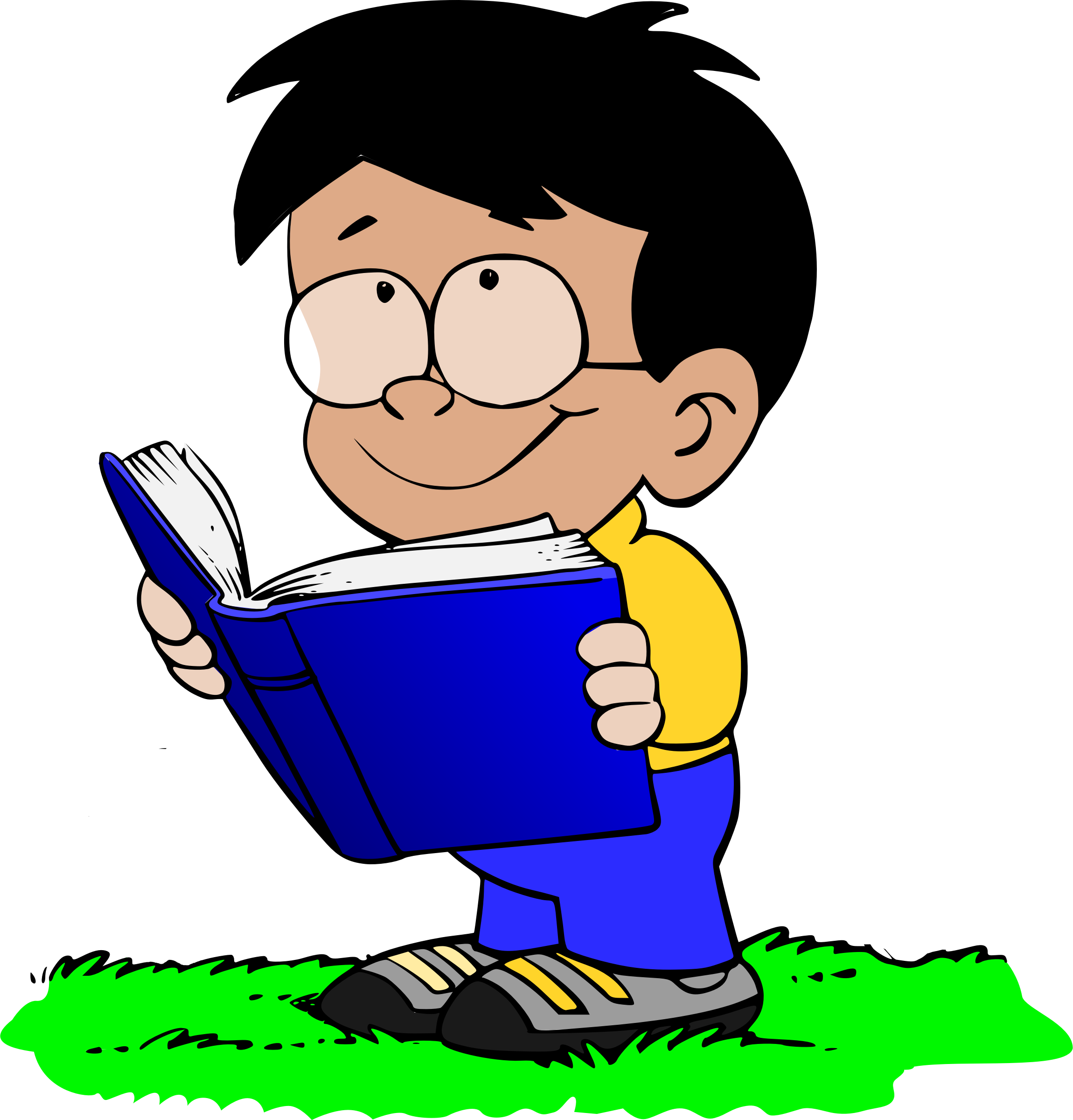 A boy reading a book clipart banner Clipart - Boy with Book banner