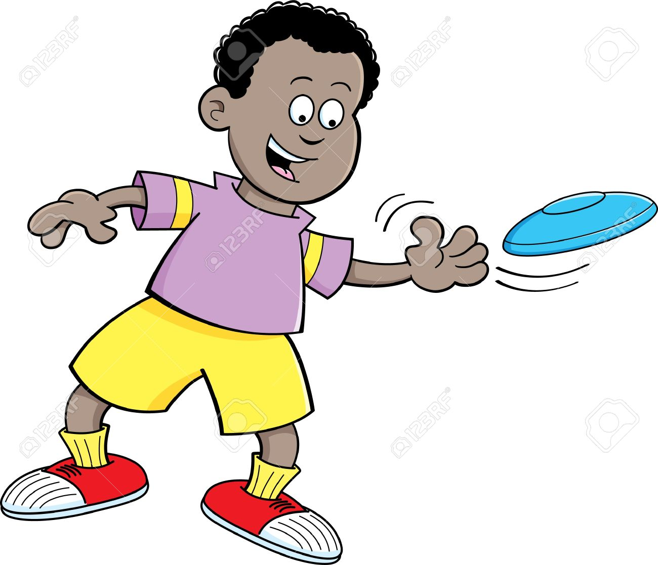 A boy throwing a ball to a boy clipart png library library Cartoon Illustration Of A Boy Throwing A Flying Disc Royalty Free ... png library library