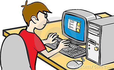 Boy on computer clipart