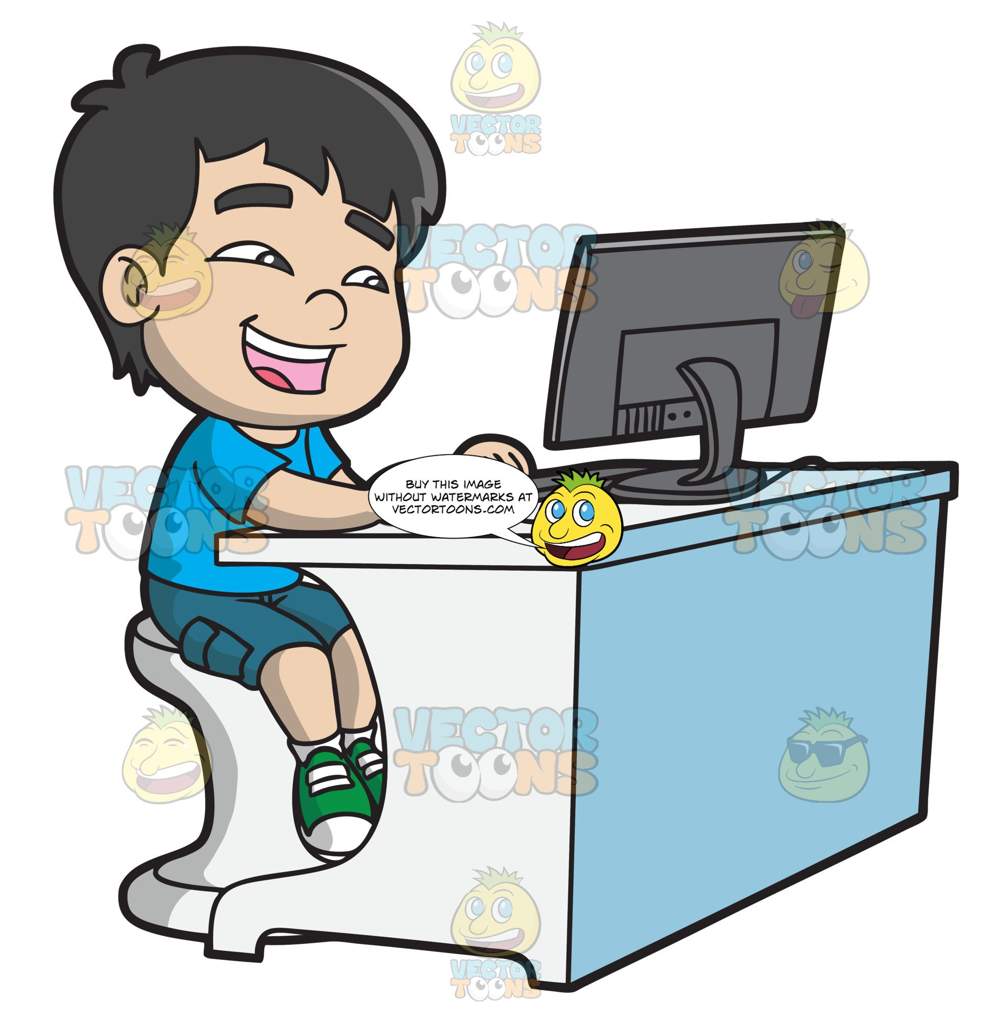 A boy using computer clipart clipart freeuse stock A Boy Watching A Funny Video Using A Desktop Computer clipart freeuse stock