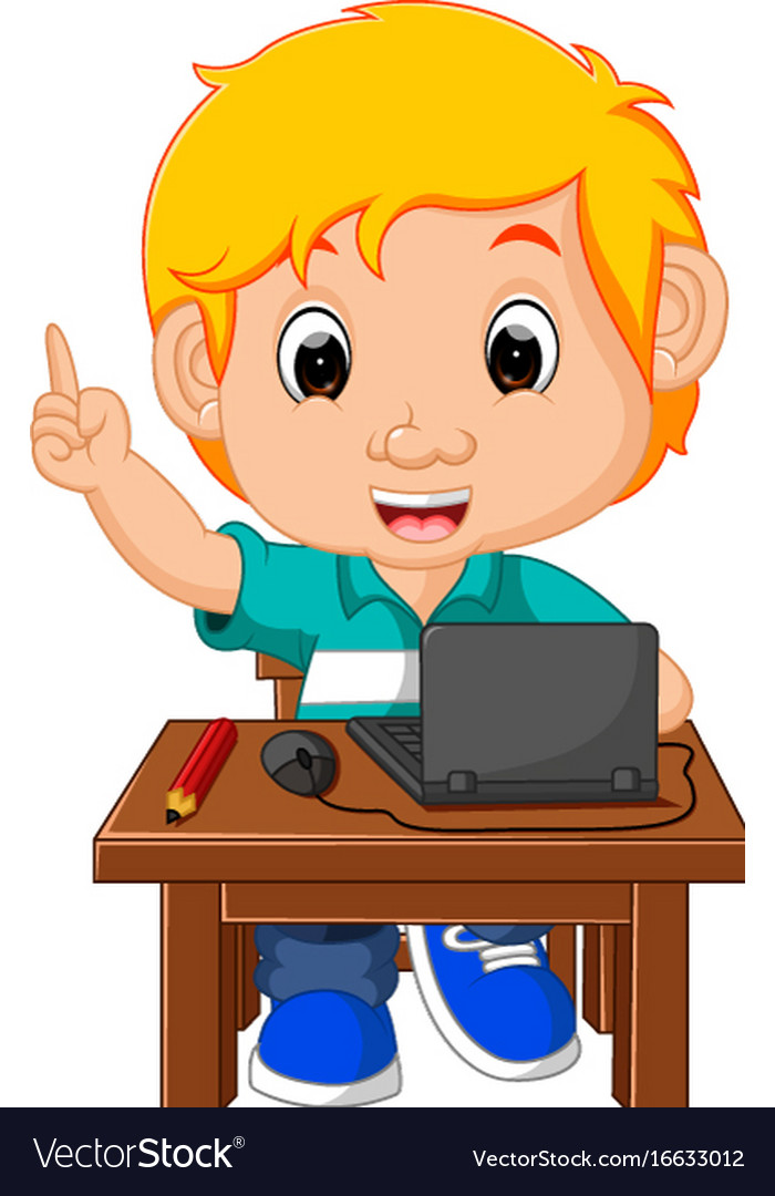 A boy using computer clipart vector royalty free library Kid boy using the computer cartoon vector royalty free library